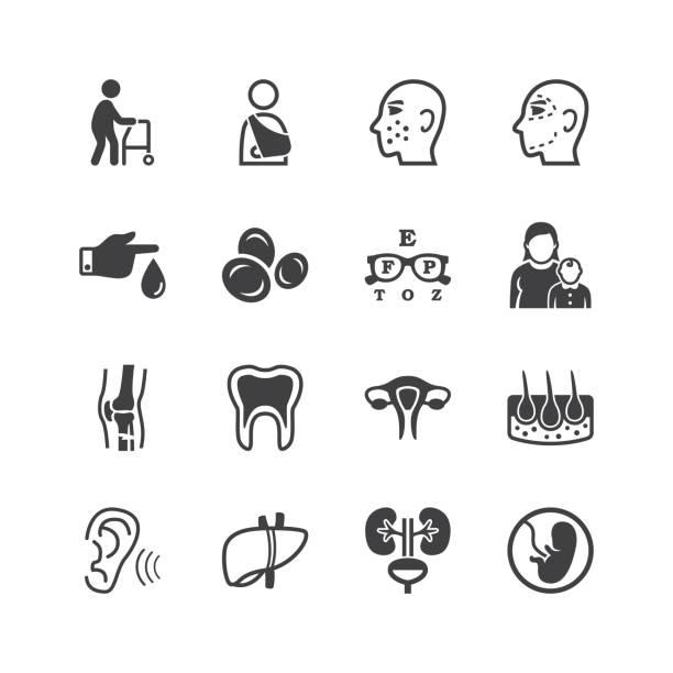 ilustraciones, imágenes clip art, dibujos animados e iconos de stock de iconos de especialidades médicas - geriatría