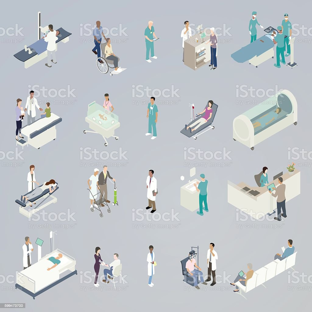 Medical Spot Illustration Twenty medical spot illustrations in a flat, unified color palette are presented in isometric view. Mini-scenes include a patient on an xray scanner, a pediatrician handing a lollipop to a patient, a chiropractor on massage table, a patient in intensive care, a patient getting his blood taken for blood work, a newborn in the NICU, a woman in a wheelchair being transported, an elderly woman buying medicine from a pharmacist, a blood donor, a surgeon scrubbing hands, a man getting his vision checked from an opthamologist, a team of surgeons performing an operation, a woman in a hyperbaric chamber, and a man checking in with a medical receptionist. Blood Donation stock vector