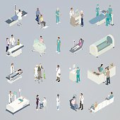 Twenty medical spot illustrations in a flat, unified color palette are presented in isometric view. Mini-scenes include a patient on an xray scanner, a pediatrician handing a lollipop to a patient, a chiropractor on massage table, a patient in intensive care, a patient getting his blood taken for blood work, a newborn in the NICU, a woman in a wheelchair being transported, an elderly woman buying medicine from a pharmacist, a blood donor, a surgeon scrubbing hands, a man getting his vision checked from an opthamologist, a team of surgeons performing an operation, a woman in a hyperbaric chamber, and a man checking in with a medical receptionist.