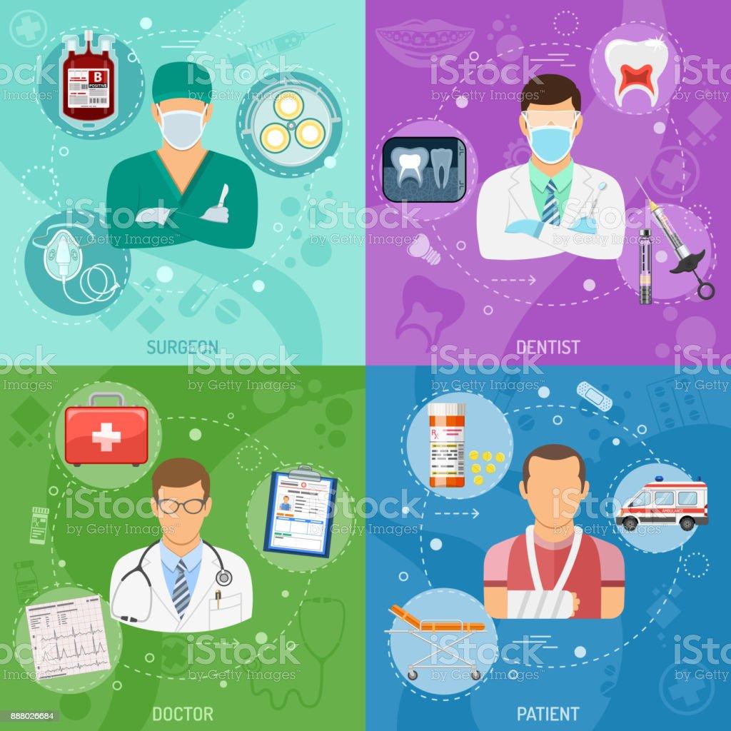 Medical square banners vector art illustration