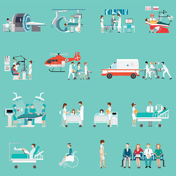 bildbanksillustrationer, clip art samt tecknat material och ikoner med medical staff and patients different character in hospital. - sjukhusavdelning