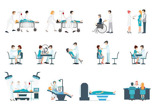 ilustraciones, imágenes clip art, dibujos animados e iconos de stock de médica personal y los pacientes de diferentes situaciones conjunto en hoapital. - optometrista