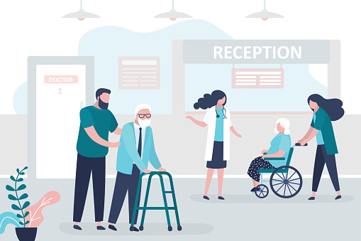 Medical staff and patients in reception hospital. Concept of healthcare and medicine. Doctors and nurse care for elderly