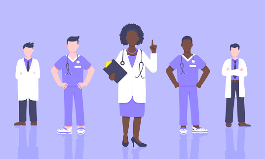Medical staff doctor team with face masks clinic employee vector illustration.