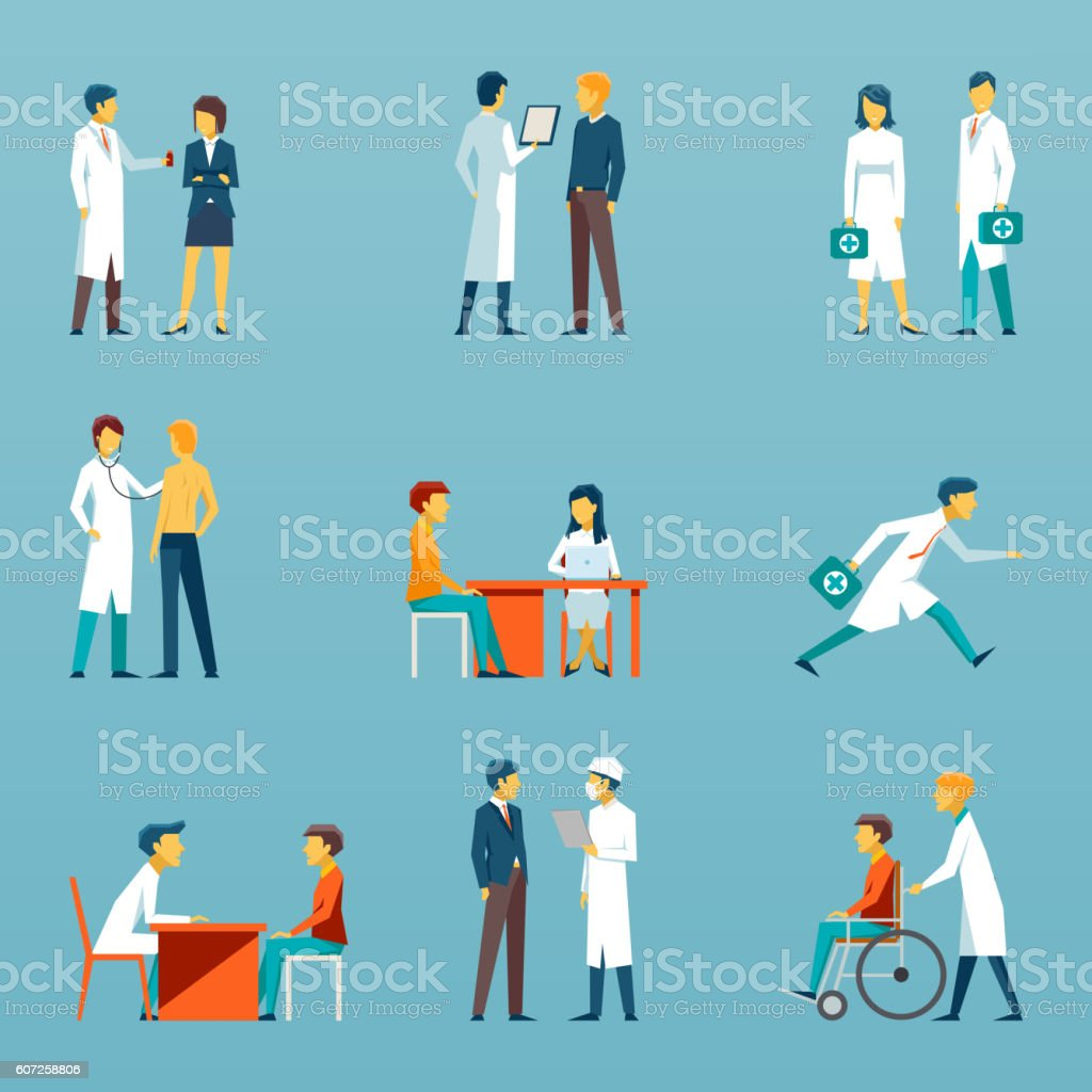 Medical staff flat vector icons. Health care set – Vektorgrafik