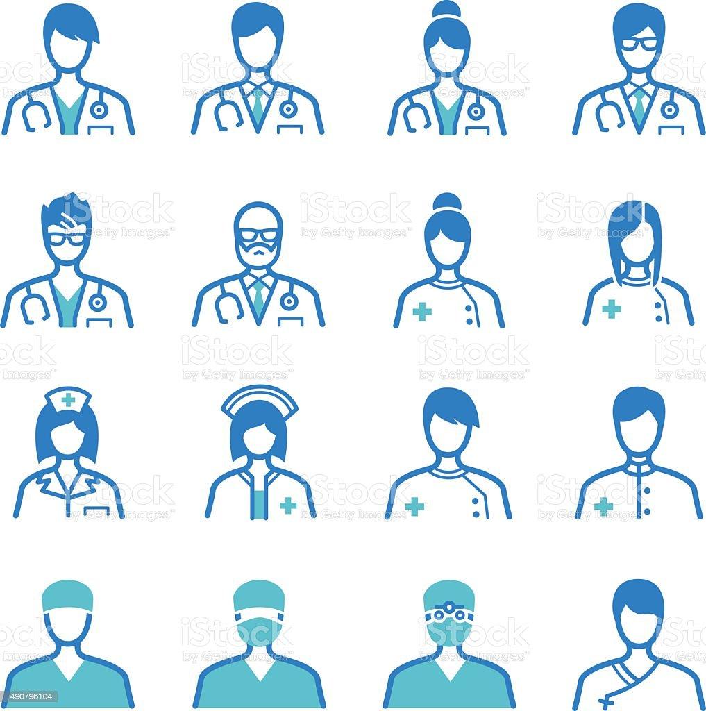 Medical staff icons set vector art illustration