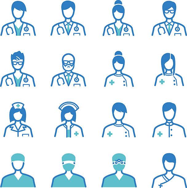 medical staff icons set - surgeon 幅插畫檔、美工圖案、卡通及圖標