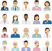Medical staff icons