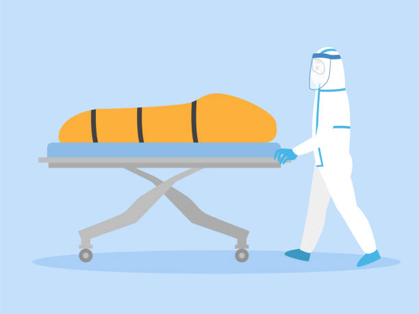 Medical Staff in personal protective suit move a dead body inside bag Medical Staff in personal protective suit move a dead body inside bag quarantine of infected patients coronavirus to the morgue. Healthcare Concept. death stock illustrations