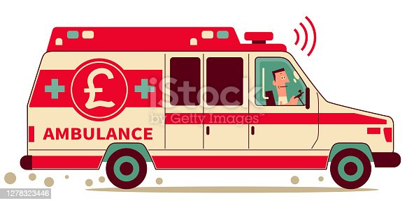 istock Medical staff is driving a ambulance with British Pound currency sign; Emergency Fund, Loan or Charitable Donation concept 1278323446