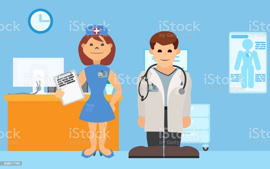 medical staff is in the hospital room vector art illustration