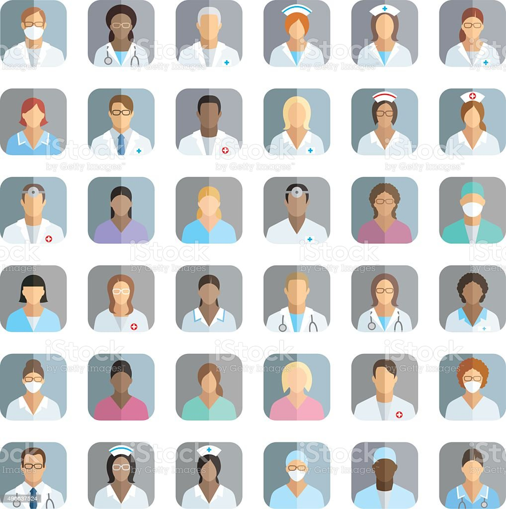 Personal de la clínica: iconos de personas - ilustración de arte vectorial