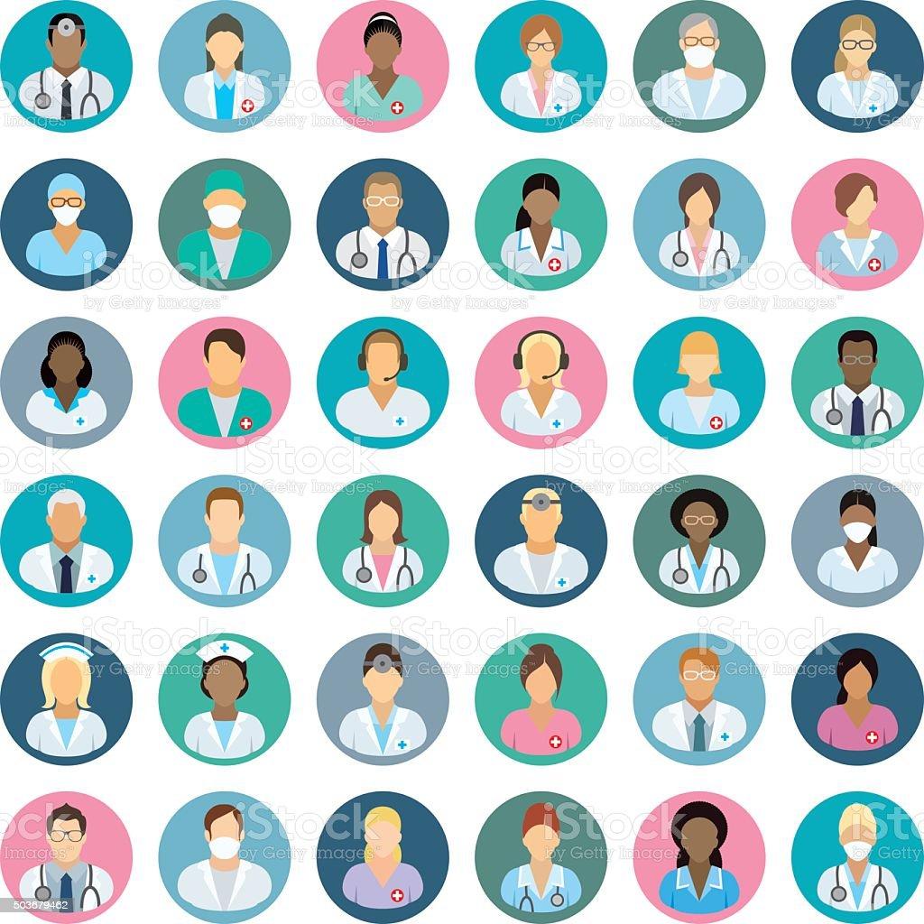 Personale medico-persone icone - arte vettoriale royalty-free di Adulto