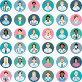 Set of icons with doctors, surgeons, nurses and other medical practitioners.
