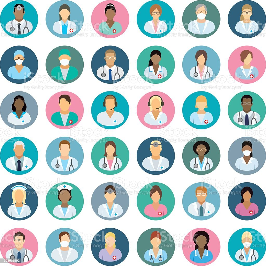Personnel médical :  icônes de personnages - Illustration vectorielle