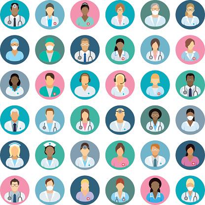Personale Medicopersone Icone - Immagini vettoriali stock e altre immagini di Adulto
