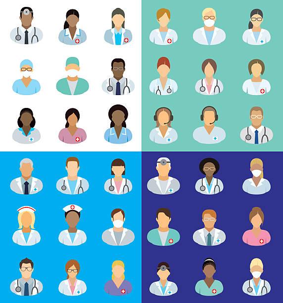 illustrazioni stock, clip art, cartoni animati e icone di tendenza di personale medico-persone icone - dottoressa