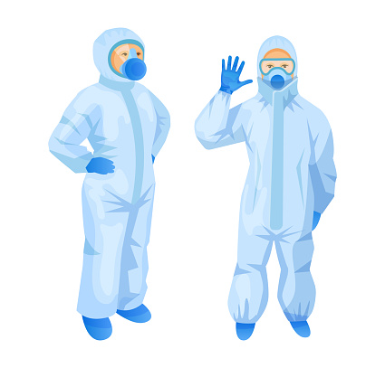 Medical staff people with personal protective equipment and safety medical respiratory mask, doctors in protective suit Coronavirus COVID-19 and latex gloves