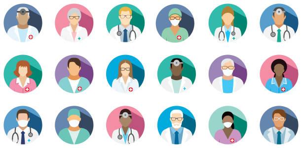 medizinisches personal - satz von flachen runden symbole. - flat design stock-grafiken, -clipart, -cartoons und -symbole