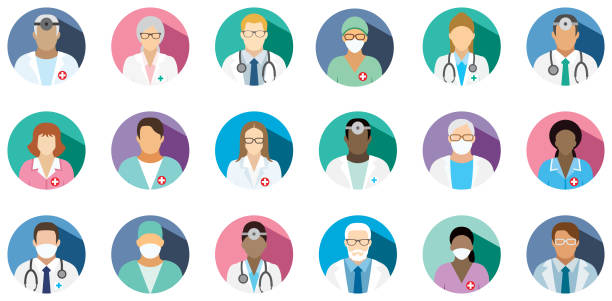 illustrazioni stock, clip art, cartoni animati e icone di tendenza di medical staff - set of flat round icons. - personale medico