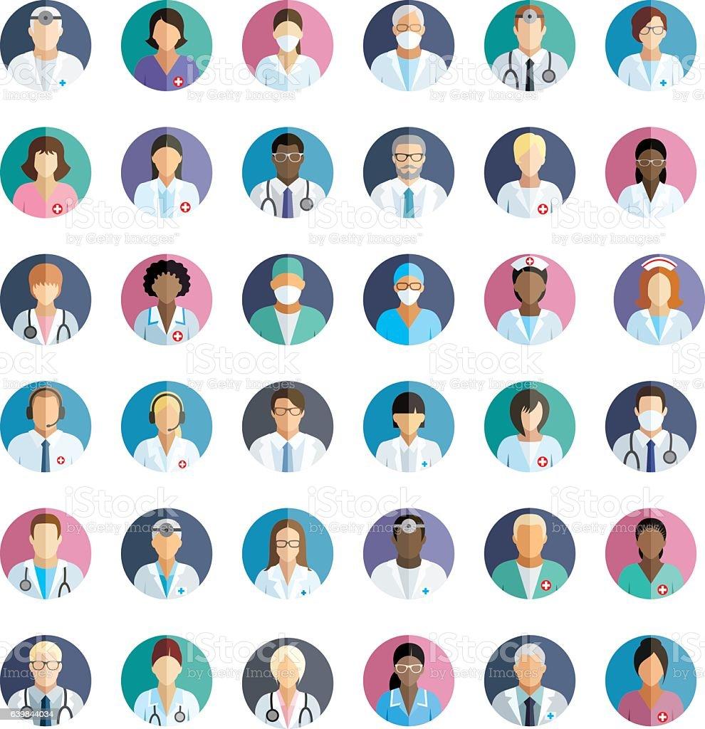 Medical staff - set of flat round icons.