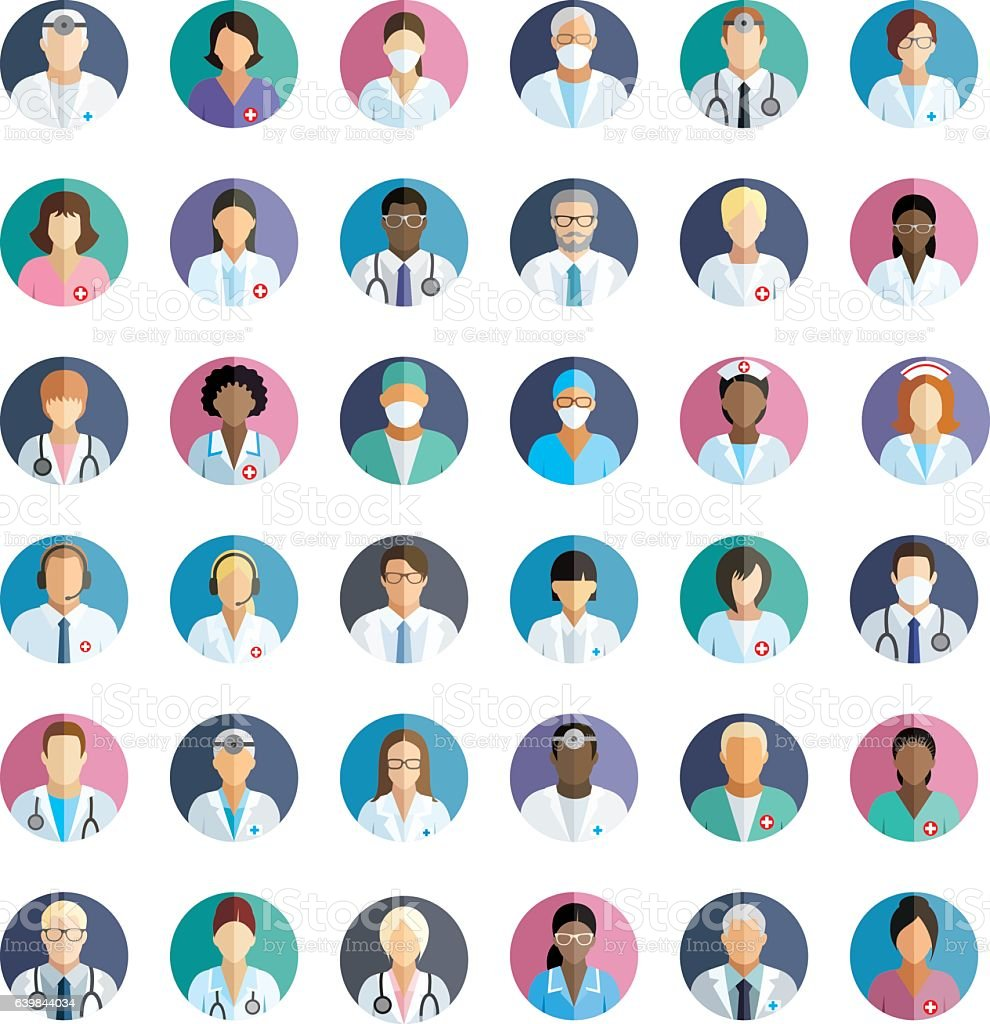 Medical staff - set of flat round icons. vector art illustration