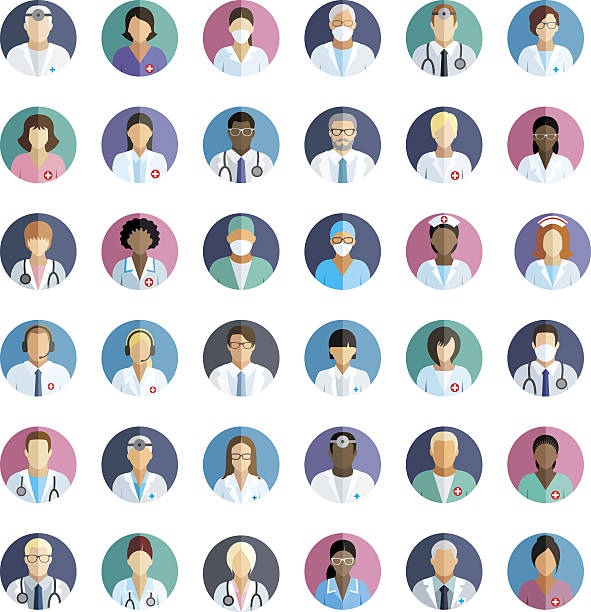 illustrations, cliparts, dessins animés et icônes de medical staff - set of flat round icons. - suivi des malades