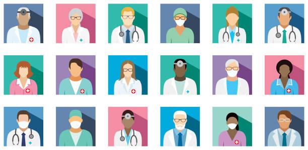 illustrazioni stock, clip art, cartoni animati e icone di tendenza di medical staff - set of flat square icons. - mask surgery