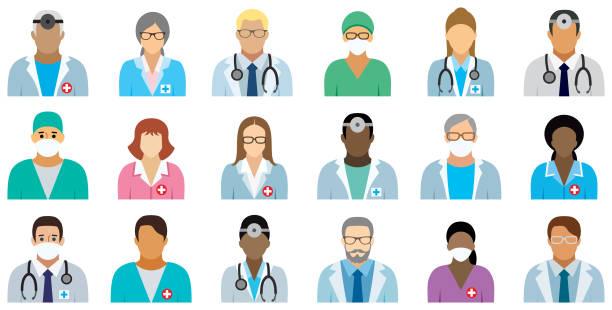 illustrazioni stock, clip art, cartoni animati e icone di tendenza di medical staff - set of icons. - dottoressa