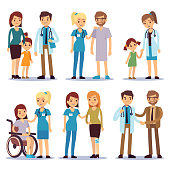 Medical staff with patients. Nurses and doctors with sick person vector cartoon characters set