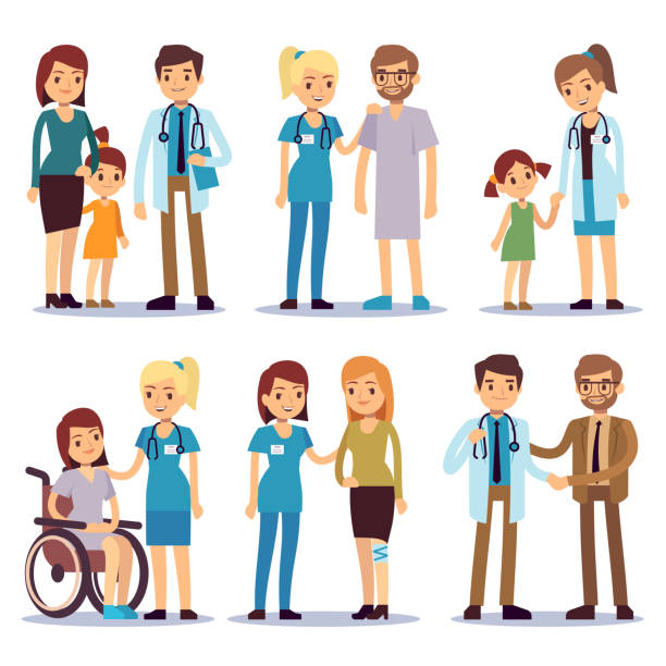 Medical staff with patients. Nurses and doctors with sick person vector cartoon characters set Medical staff with patients. Nurses and doctors with sick person vector cartoon characters set. Illustration of medical doctor and patient cartoon, nurse and people doctor and patient stock illustrations