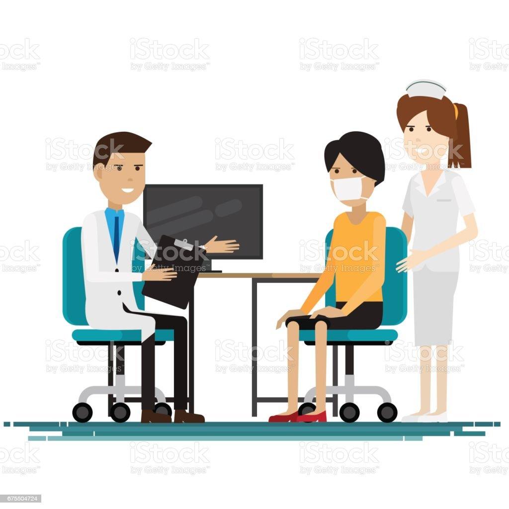personnel médical avec les patients. Illustration vectorielle personnel médical avec les patients illustration vectorielle – cliparts vectoriels et plus d'images de adulte libre de droits
