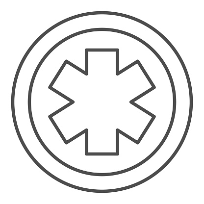 Medical star thin line icon, Medical concept, Emergency star sign on white background, medical life star icon in outline style for mobile concept and web design. Vector graphics.