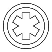 istock Medical star thin line icon, Medical concept, Emergency star sign on white background, medical life star icon in outline style for mobile concept and web design. Vector graphics. 1282639012