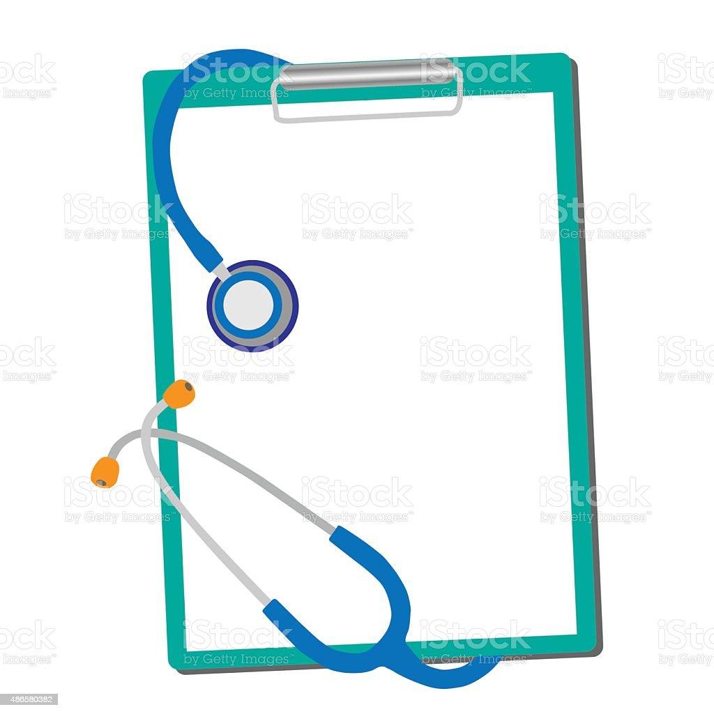 Medizinische Stethoskop mit Formular blank, isoliert auf weißem Hintergrund – Vektorgrafik