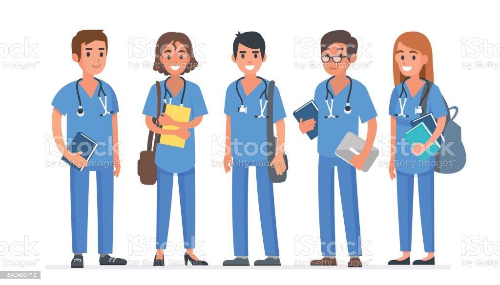 Medical students vector art illustration