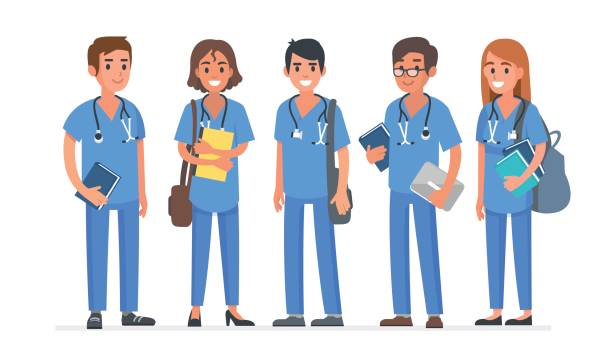 medical students - nurse stock illustrations, clip art, cartoons, & icons