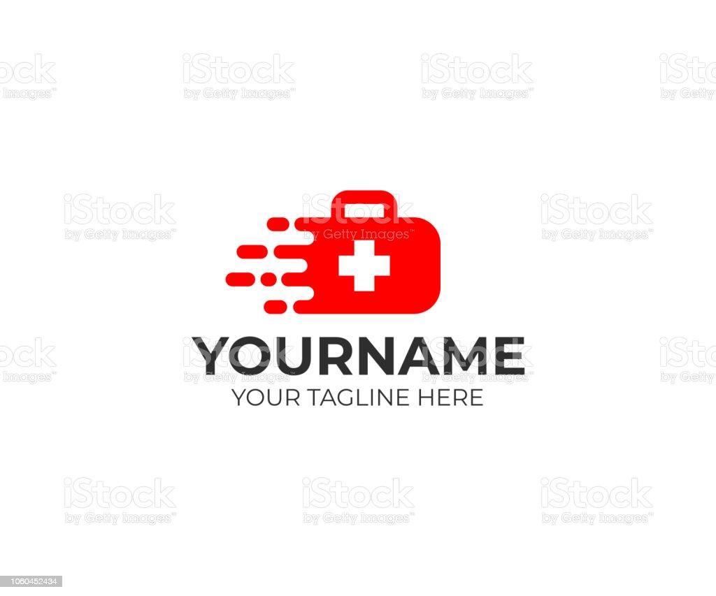 Medical suitcase and fast medical care logo design. Medical first-aid vector design. Ambulance illustration vector art illustration