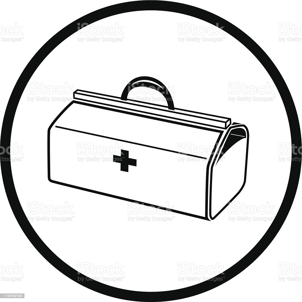 medical suitcase vector art illustration