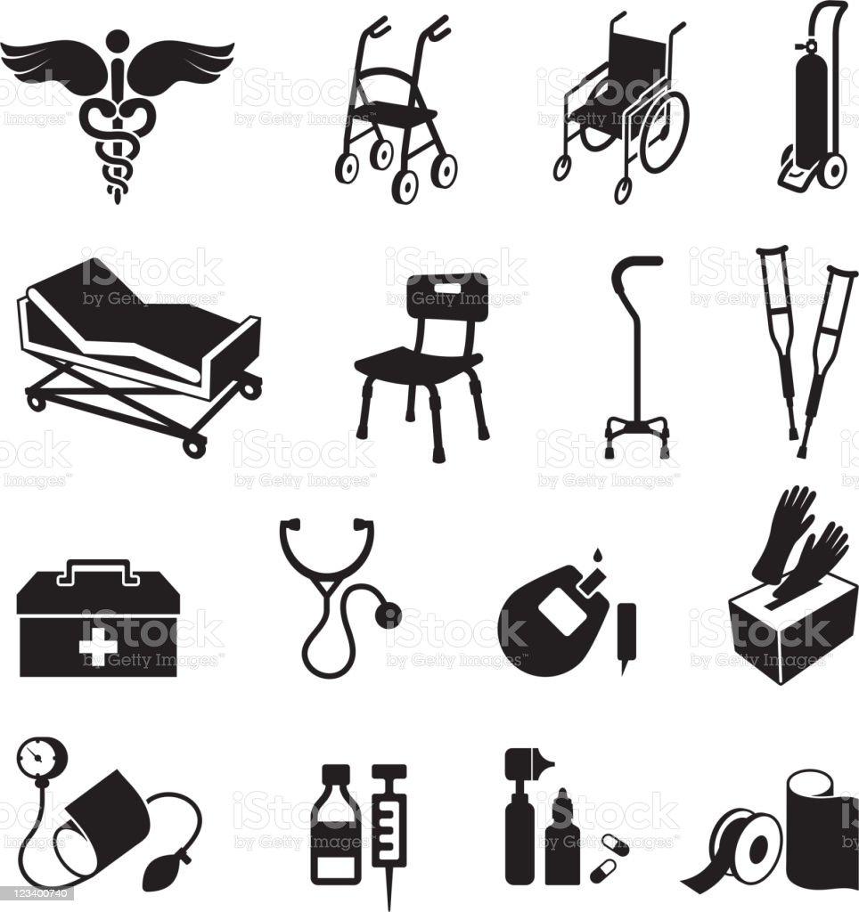 medical supplies black & white royalty free vector icon set vector art illustration