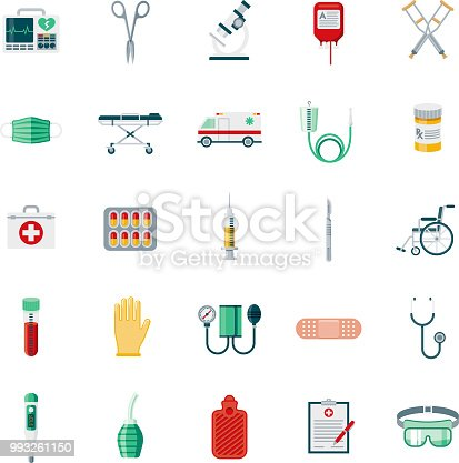 A set of 25 medical supplies flat design icons on a transparent background. File is built in the CMYK color space for optimal printing. Color swatches are Global for quick and easy color changes.