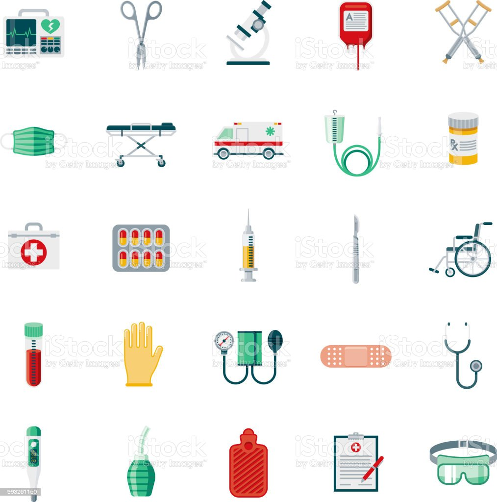 Conjunto de ícones de Design plano de suprimentos médicos - ilustração de arte em vetor
