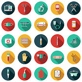 A set of flat design styled healthcare & medicine supplies and tools icons with a long side shadow. Color swatches are global so it's easy to edit and change the colors.