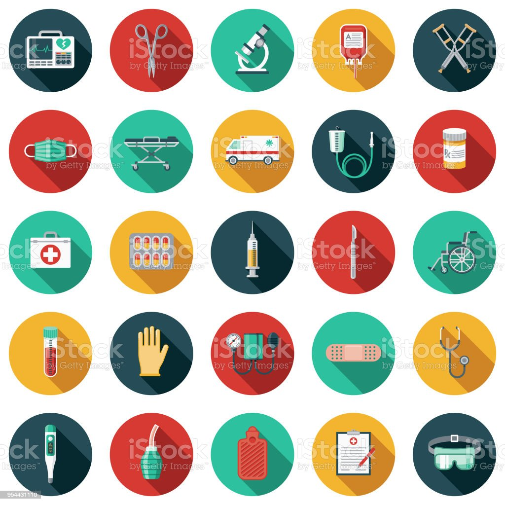Medical Supplies Flat Design Icon Set with Side Shadow vector art illustration