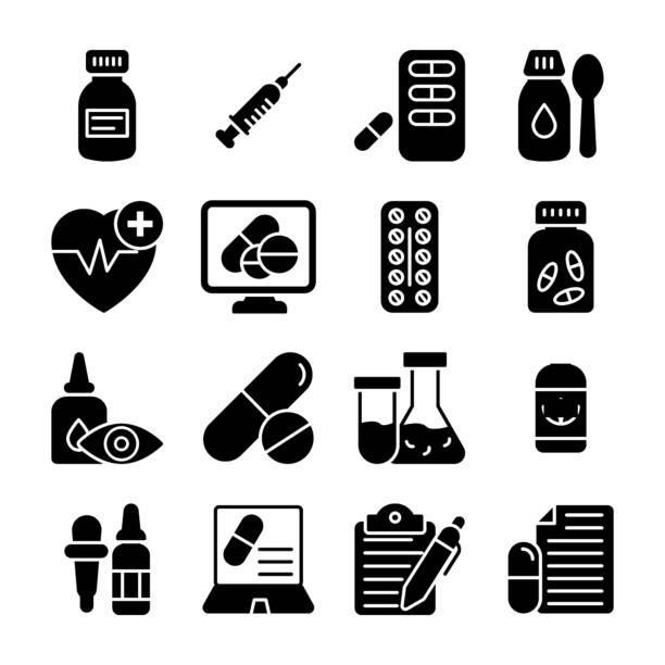 stockillustraties, clipart, cartoons en iconen met medische levering pictogrammen - doordrukstrip