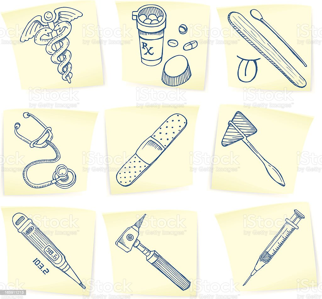 Medical Symbol & Equipment Doodles on Sticky Notes royalty-free stock vector art