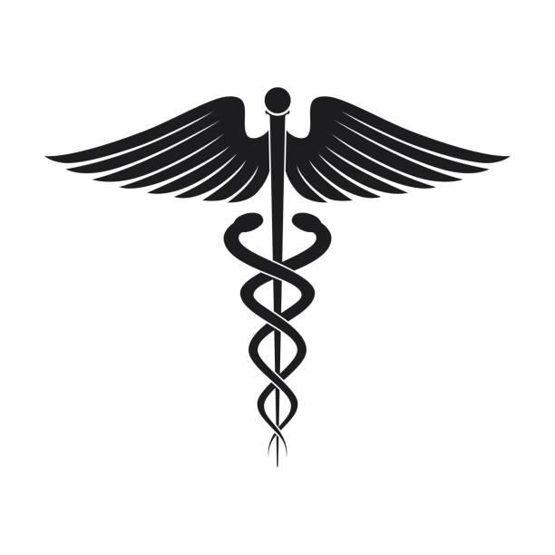 医療のシンボル アイコン - ヘルメスの杖点のイラスト素材/クリップアート素材/マンガ素材/アイコン素材
