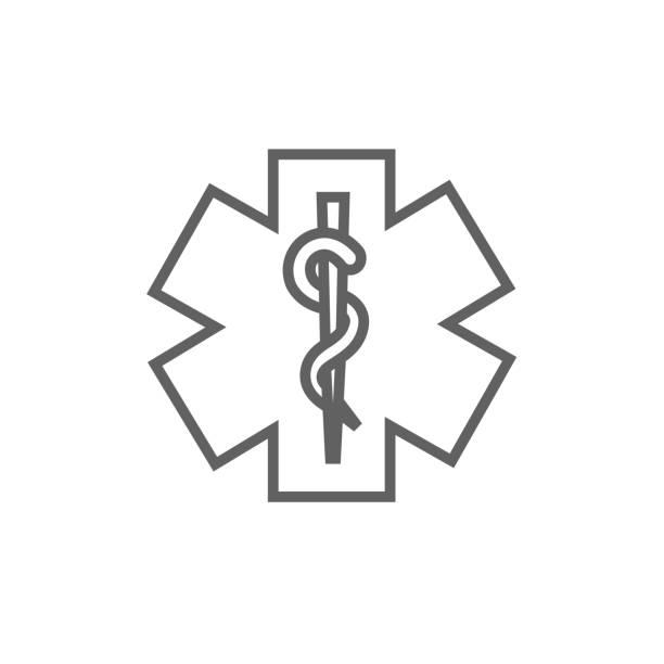 illustrazioni stock, clip art, cartoni animati e icone di tendenza di medical symbol line icon - ancient medical symbol