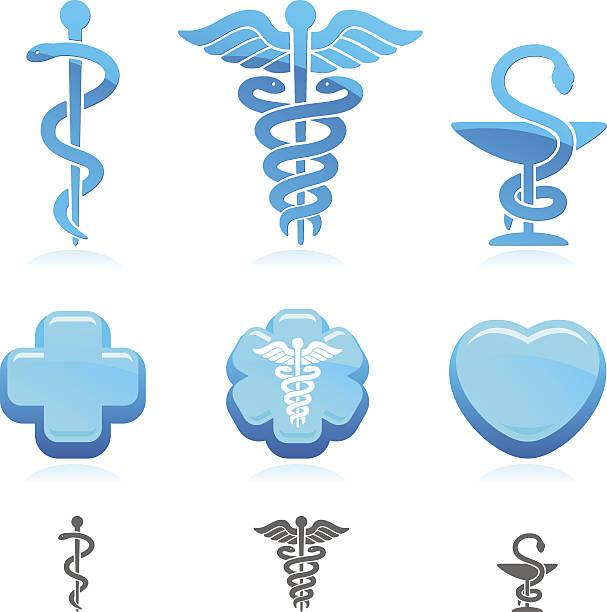 医療シンボルマーク設定されます。ベクター - ヘルメスの杖点のイラスト素材/クリップアート素材/マンガ素材/アイコン素材