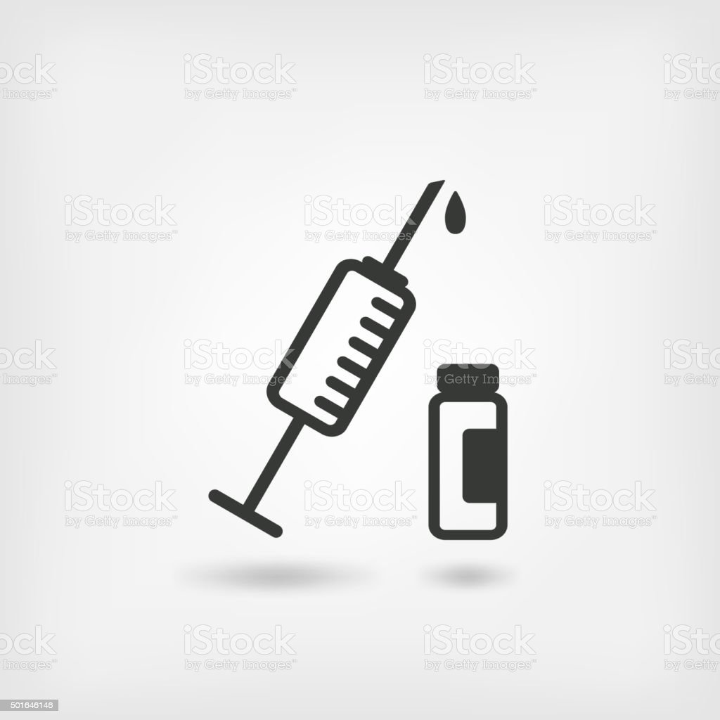 medical symbol. syringe and vial vector art illustration